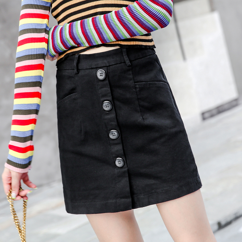 Spring and Summer Black Mid waist skirt for women, elastic and thin