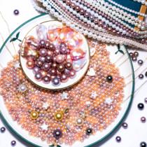 晶汐珠宝颈饰淡水珍珠天然项链裸珠正圆小珍珠散珠手工diy直播间