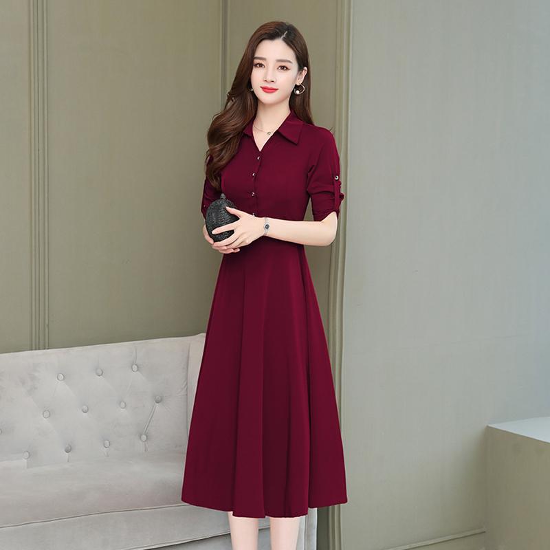 2020年秋法式新款名媛气质中长款连衣裙女装收腰显瘦夏款大码裙子