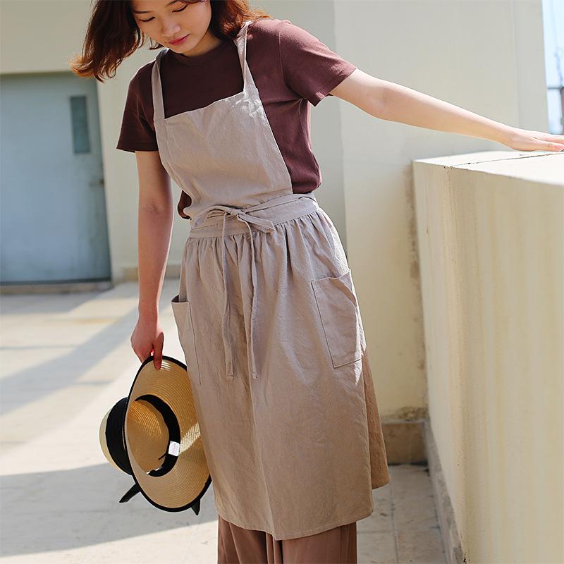 日式防水棉麻艺术围裙 咖啡店花店园艺画室幼师工作服 定制
