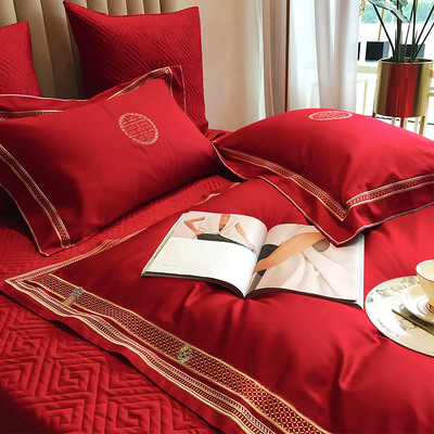 Chinese wedding 60 long-staple cotton four-piece suit 100% cotton pure cotton classical embroidery duvet cover red wedding bedding
