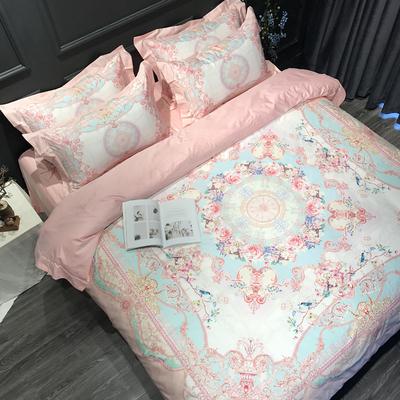 欧式100支海岛棉四件套匹马棉美式床上用品粉色大红纯棉婚庆4件套