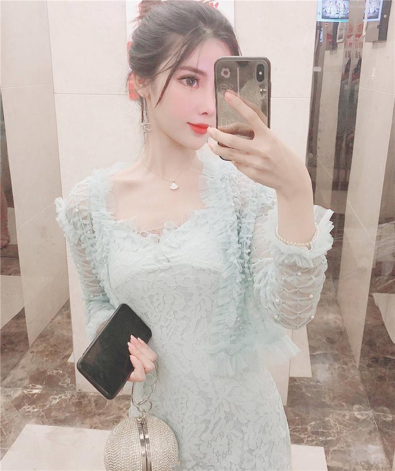 气质女神范衣服仙仙的连衣裙显瘦超仙性感蕾丝吊带裙开衫两件套