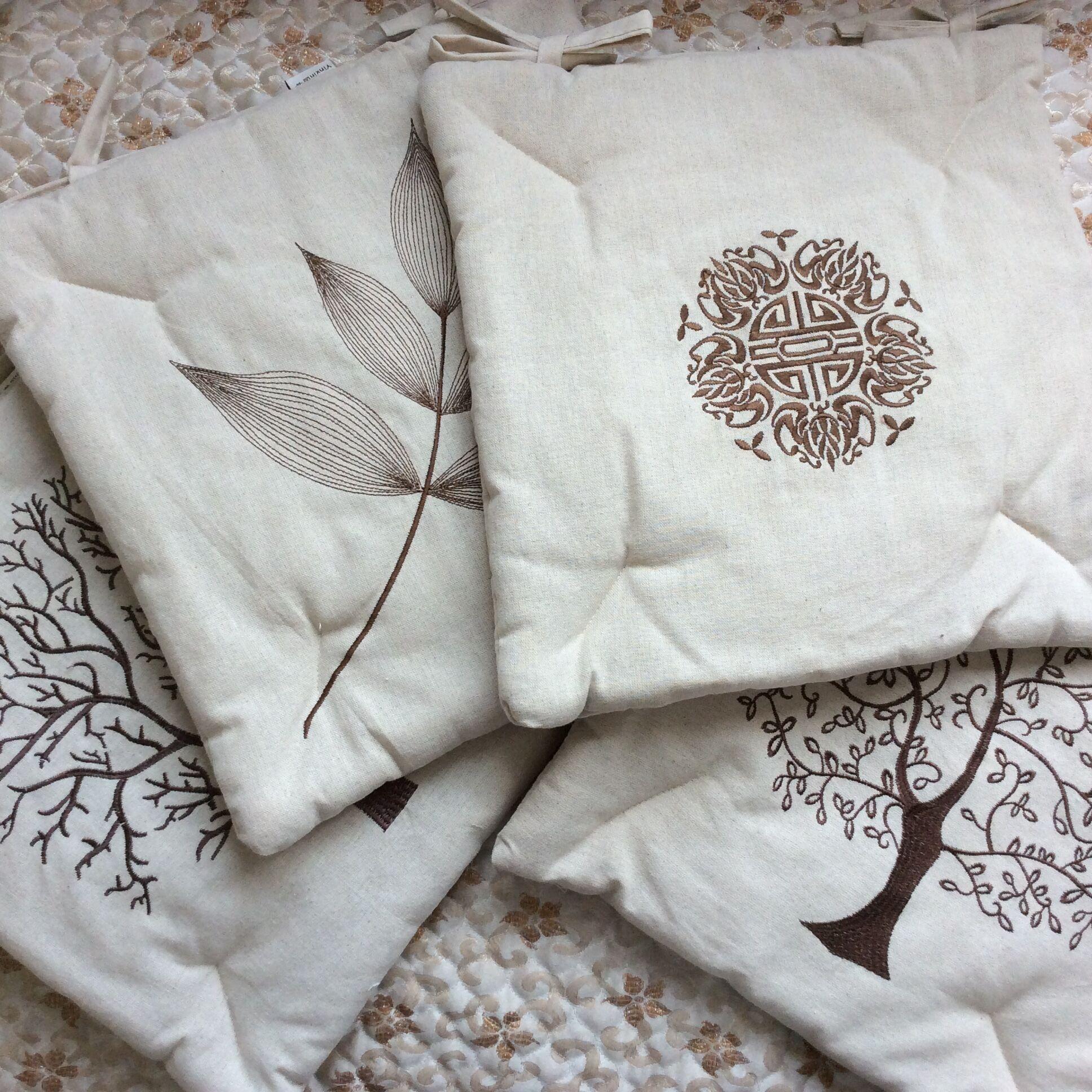 棉麻刺绣中式坐垫椅垫冬季椅子垫子餐椅座垫家用凳子系带防滑薄款