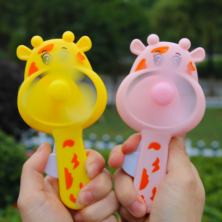 儿童手持手压手摇手动迷你小风扇卡通小猪玩具创意小礼品批�l