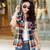 【XXXXXL】大码春秋新款磨毛显瘦长袖格子衬衫女装纯棉打底女衬衣