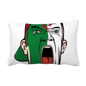 阿尔及利亚国旗帽子抱枕靠枕腰枕沙发靠垫双面含芯礼物