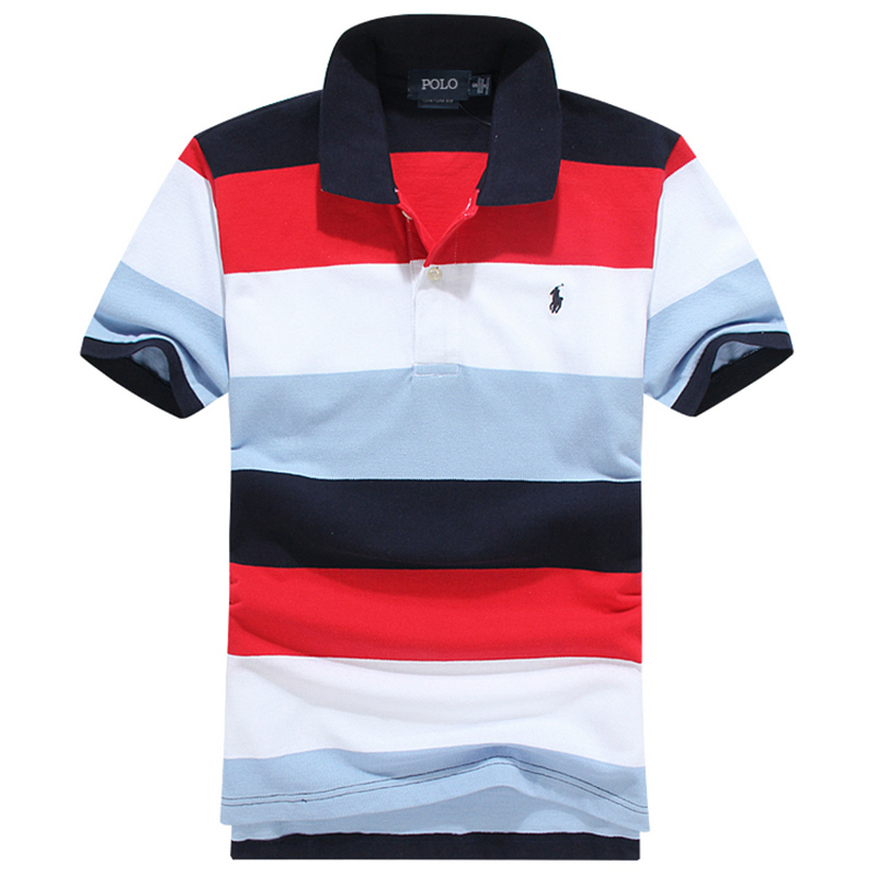 High end Polo polo shirt mens short sleeve new embroidery pony logo stripe casual large polo mens fashion