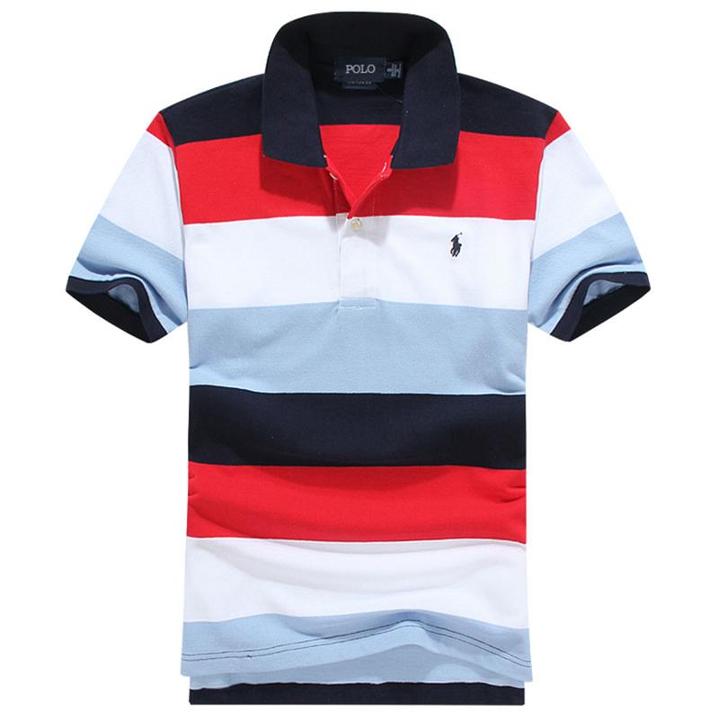 High end Polo polo shirt mens short sleeve new embroidery pony logo stripe casual large polo mens fashion