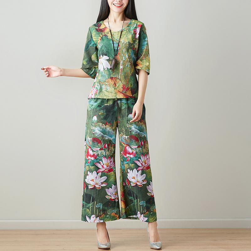 2018夏装新款中国风棉麻女装休闲套装大码民族风阔腿九分裤两件套
