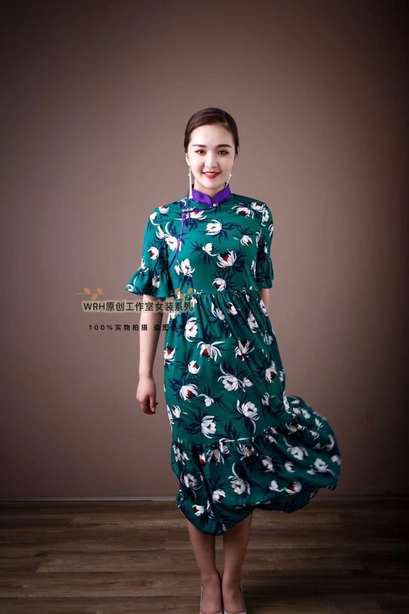 安静的小丸子WRH工作室女装雪纺碎花连衣裙夏款蒙古风民族元素
