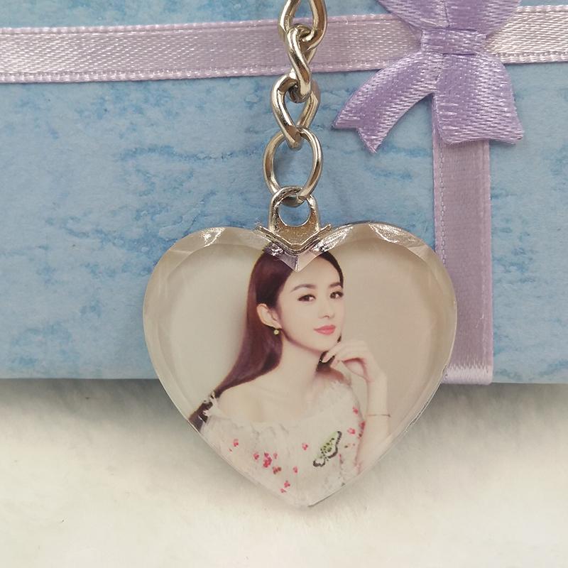 照片個性定制水晶鑰匙扣情侶相片掛件制作diy創意生日禮物送女友