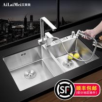 不锈钢大单槽厨房洗菜盆洗碗池套餐台上下盆304加厚手工水槽双槽