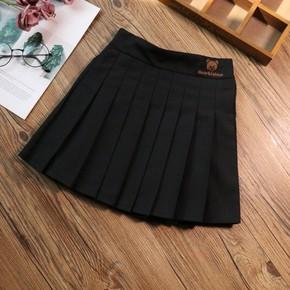 女童裙子春装2021新款洋气儿童呢子短裙半身裙秋冬毛呢黑色百褶裙