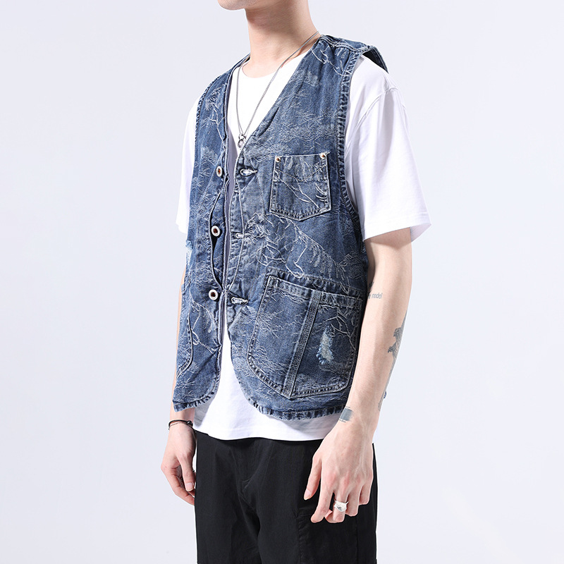 American retro heavy wash pocket tooling denim vest mens summer trend hole scraped Vest Jacket