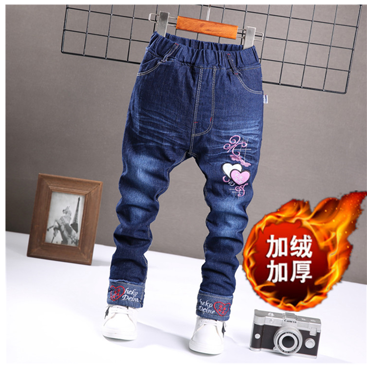 Childrens Plush Jeans Girls winter pants cotton pants thickened Pants Boys 3 Warm 4 trousers 5 winter clothes 6-7-8 years old
