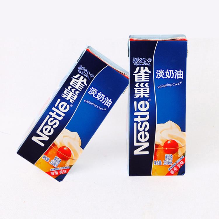 雀巢动淡性奶油 蛋糕裱花鲜稀奶油蛋挞奶油 原装250ml 烘焙原料