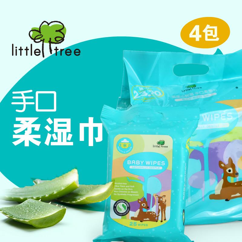 Великобритания Little Tree деревья рассада ребенок салфетки ребенок новорожденных рука рот специальный пакет портативный 25 привлечь