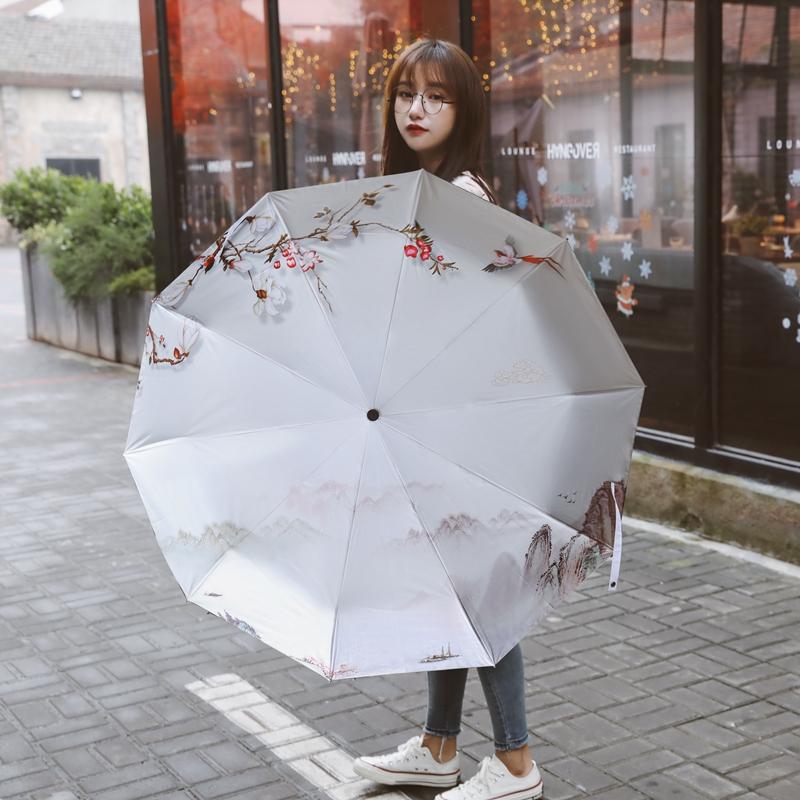 個性的な文字の刻印オリジナル10骨厚めの黒いゴムの日焼け止め折りたたみ傘プレゼント晴れ傘女性