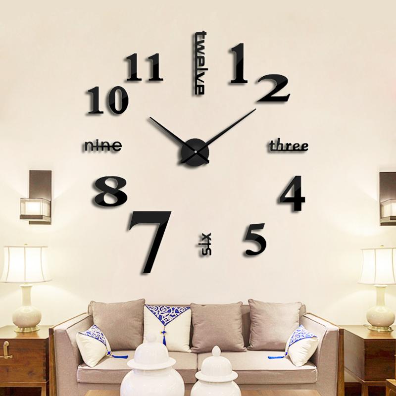 客厅挂钟欧式钟表DIY个性创意装饰墙贴表现代简约时钟静音挂表