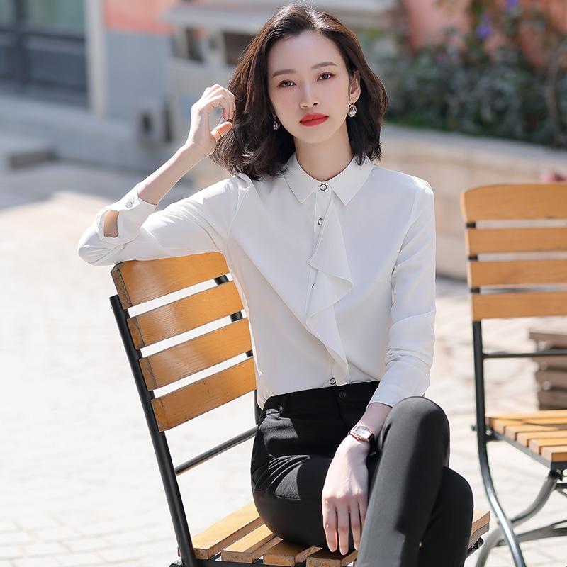 2020新款韩版长袖荷叶边衬衫雪纺女上衣洋气修身小众白色职业衬衣