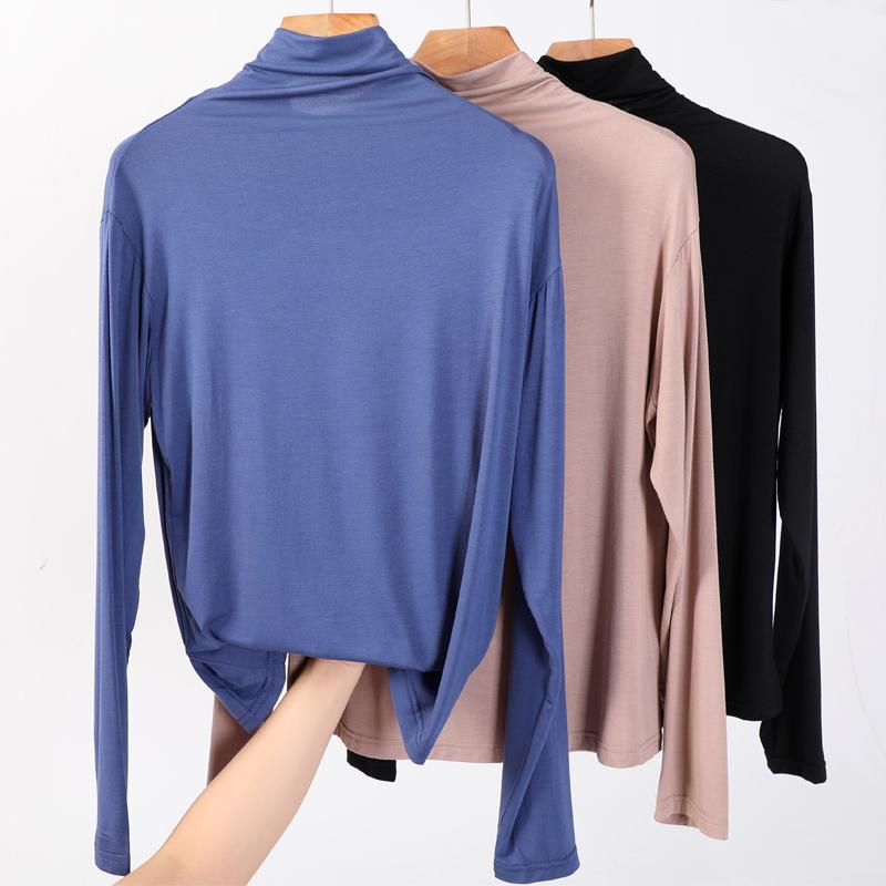 莫代尔半高领打底衫女春秋薄款长袖T恤堆堆领纯色显瘦百搭秋衣