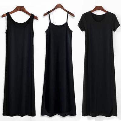 2021年新款莫代尔吊带连衣裙女夏内搭打底黑色背心长裙春秋裙子