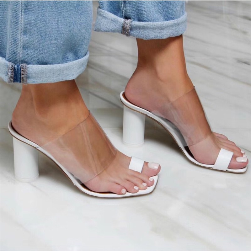 Transparent sandals womens 2020 summer womens shoes clip toe thick heel with square head high heels beach slippers for women