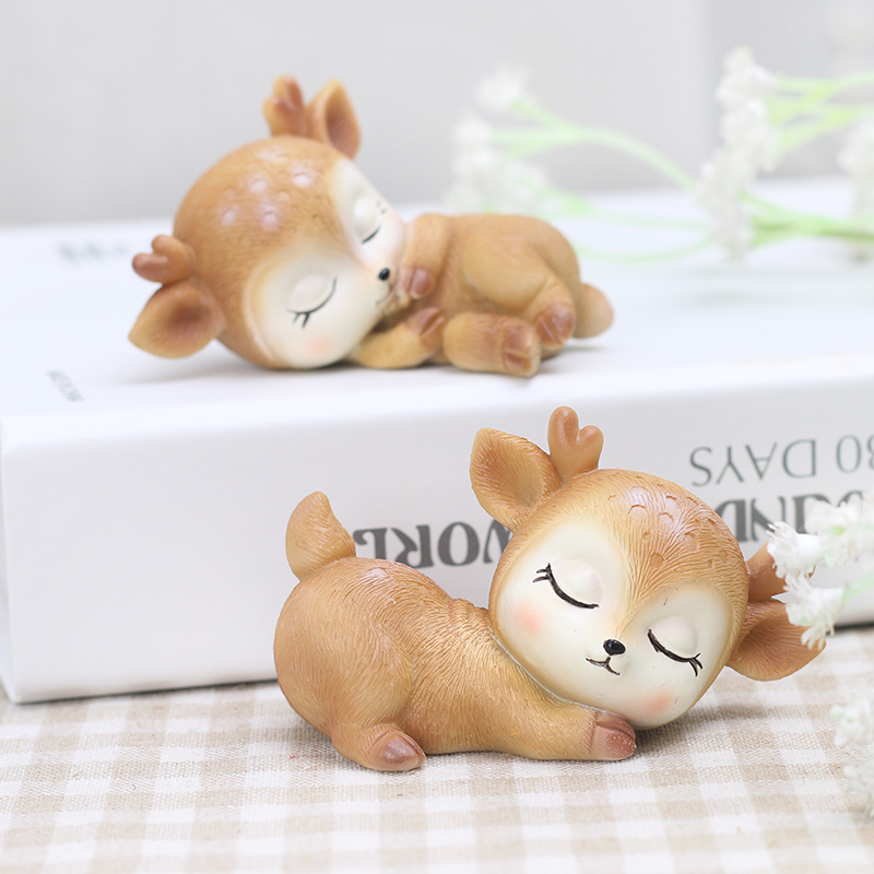 zakka梅花鹿小摆件家居装饰品可爱卡通动物创意树脂摆设生日礼物