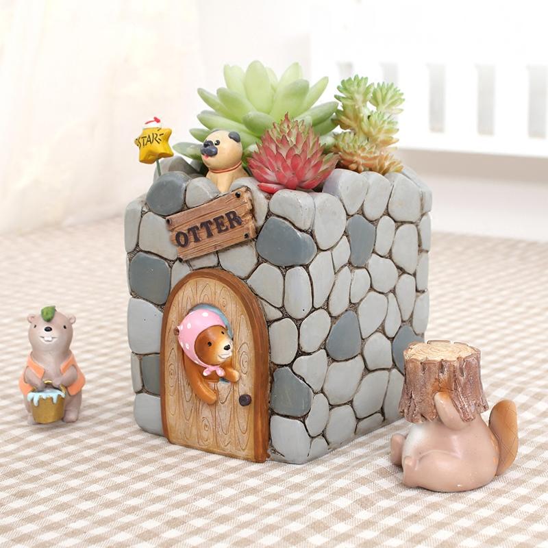美式创意可爱动物水獭花园多肉花盆家居装饰品桌面盆栽卡通小摆件