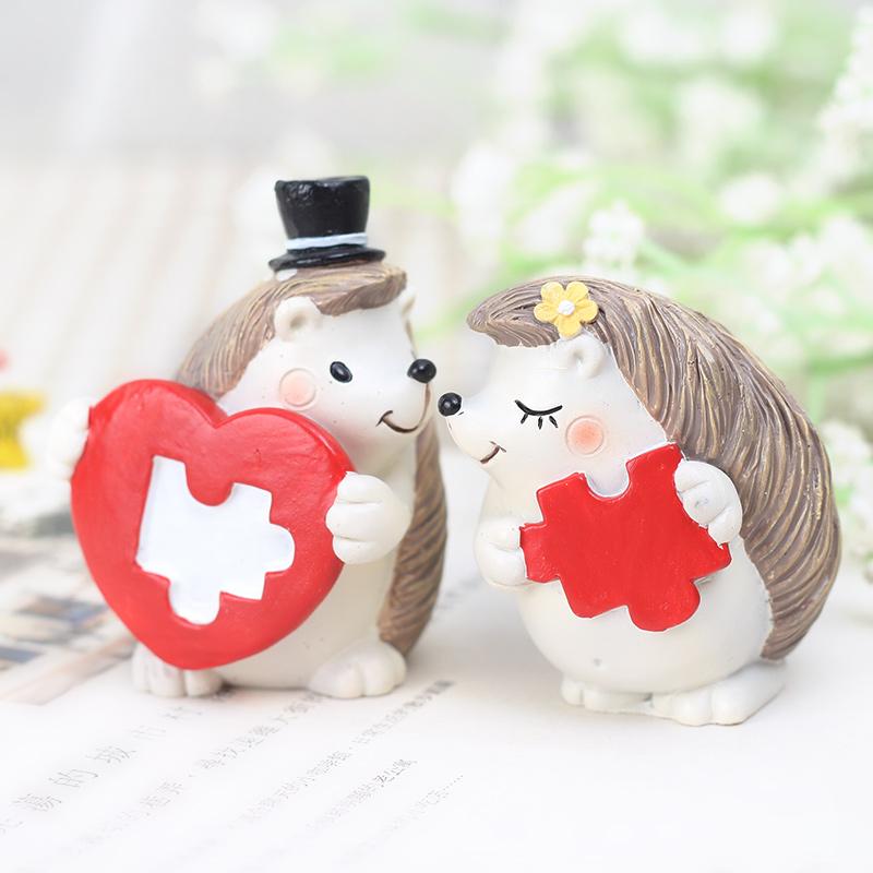 zakka创意刺猬可爱卡通动物小摆件家居装饰品少女心树脂情侣礼物