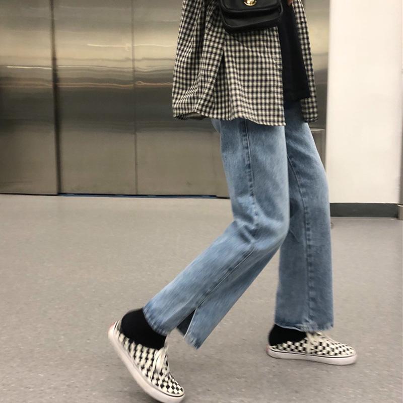 尤尤大码女装胖MM牛仔裤女秋冬新款高腰开叉宽松直筒裤百搭长裤子