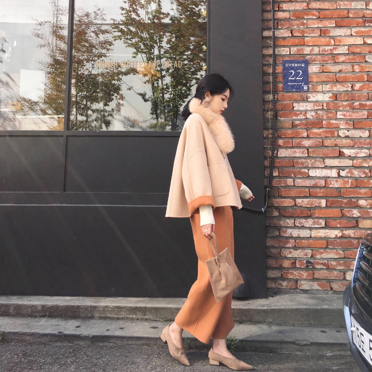 ◆ASM◆2018冬季新款气质短款毛呢外套休闲裤半身裙时尚套装女装
