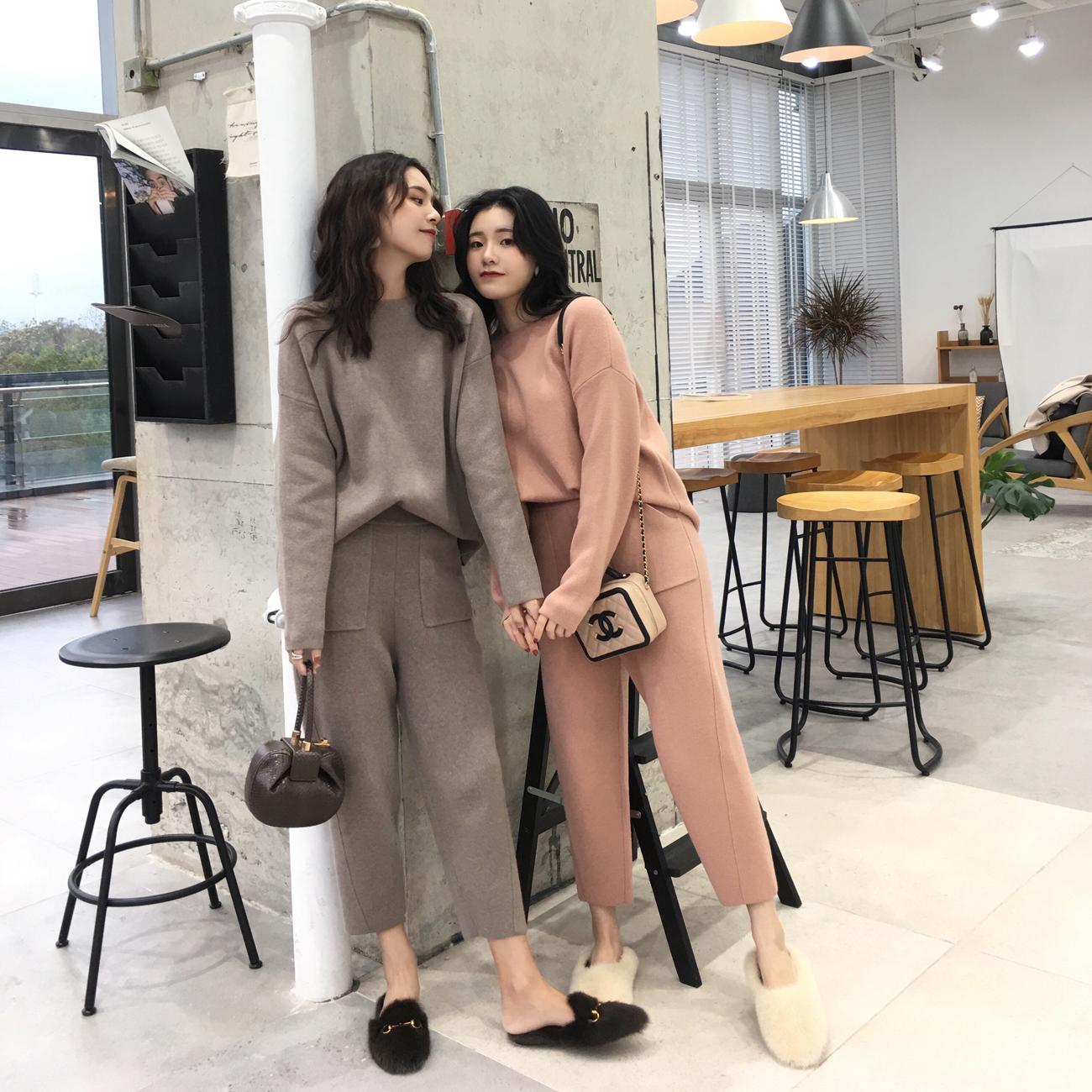 ◆ASM◆2018冬季新款百搭套头毛衣显瘦针织裤休闲裤时尚套装女装