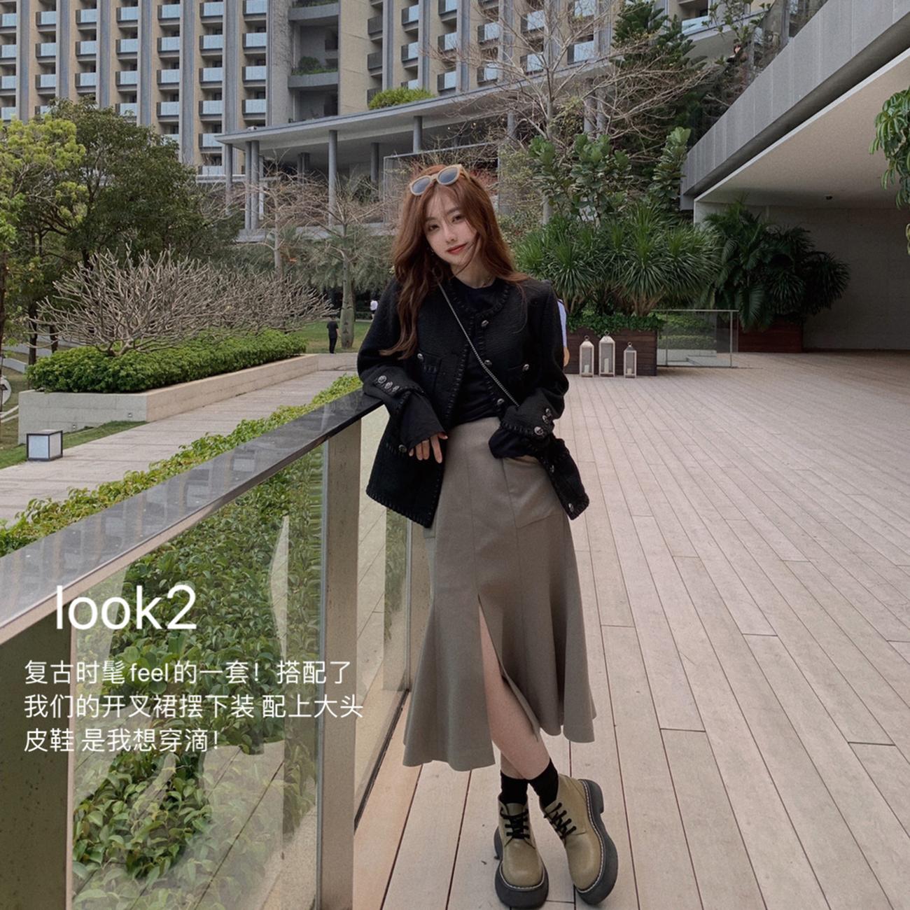 ASM ANNA◆tag art~时髦开叉荷叶鱼尾裙 中长款a字半身裙2021春款