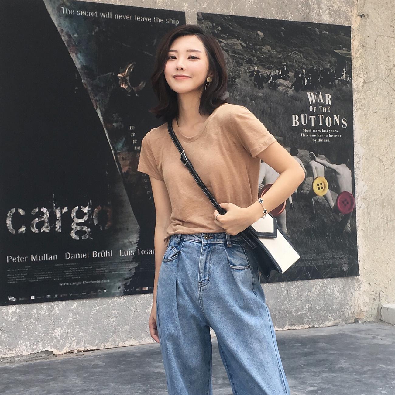 ◆ASM◆2018秋装新品基础款百搭圆领T恤纯色显瘦短袖上衣打底衫女