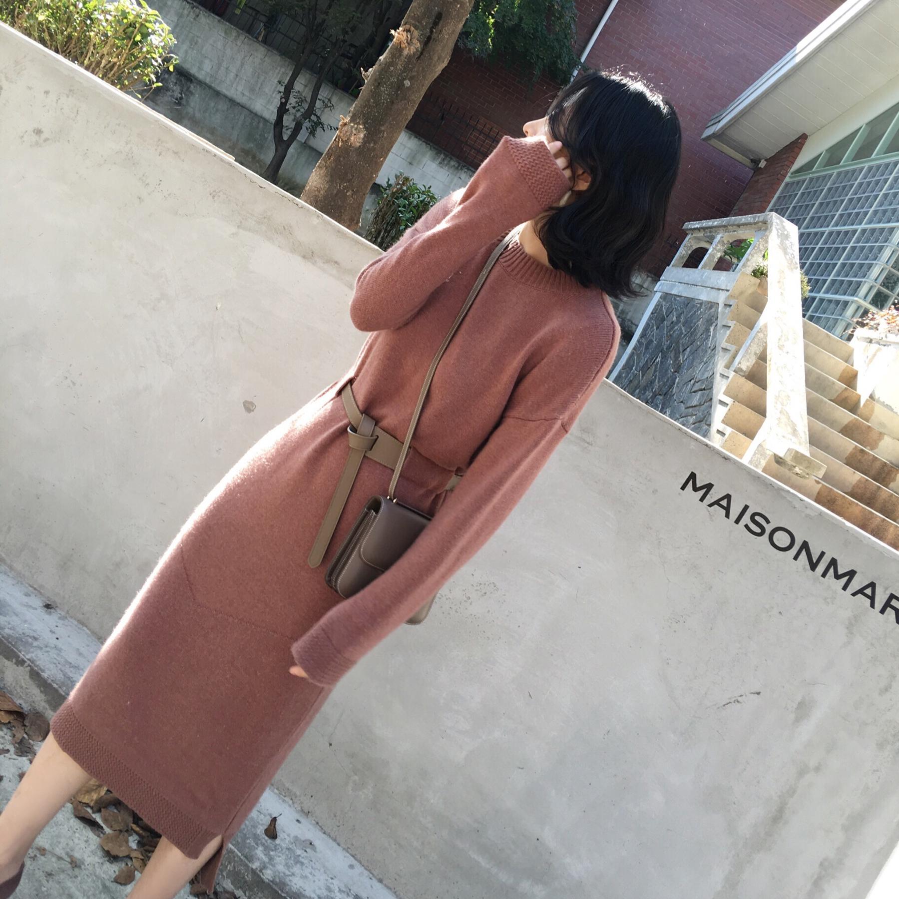 ◆ANNA◆小心机皮腰带设计针织长裙毛衣连衣裙显瘦打底女