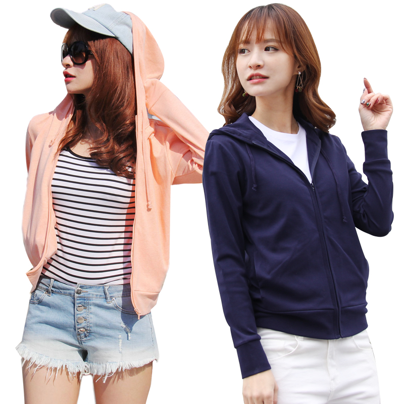 Womens College of sanitary wear: 2018 new womens summer pure cotton long sleeve zipper thin sunscreen hooded cardigan