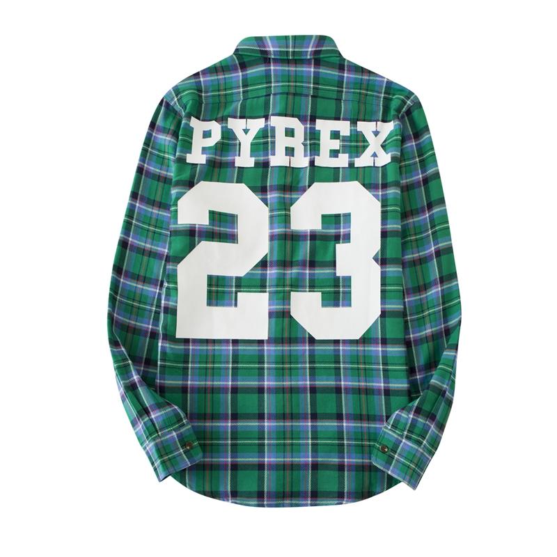 咆哮的小眼睛 PYREX 23 Virgil绿色格子格纹衬衫外套 GD EDC同款