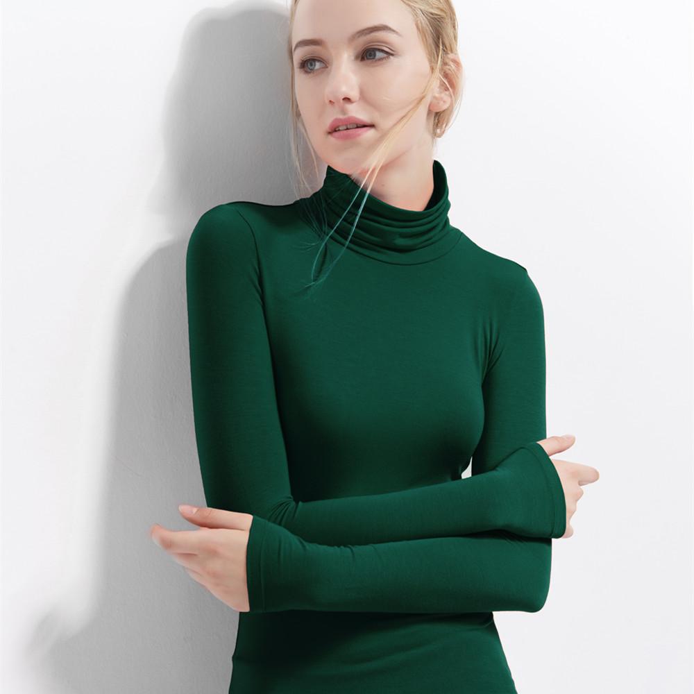 莫代尔高领超弹孕妇打底衫纯色贴身秋衣大码长袖女士不起球睡衣t