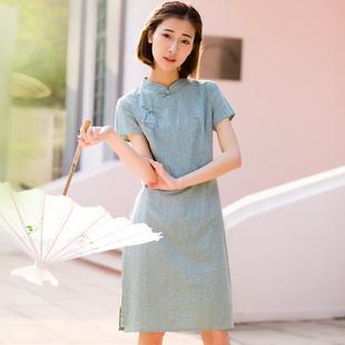 民国风中式优雅盘扣小立领短款文艺复古棉麻改良旗袍连衣裙日常夏