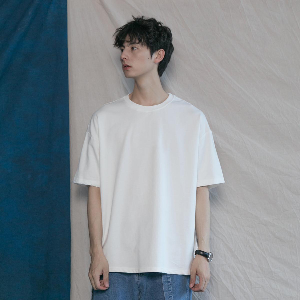 韩版纯色基础款圆领纯棉t恤衫tee58.00元包邮