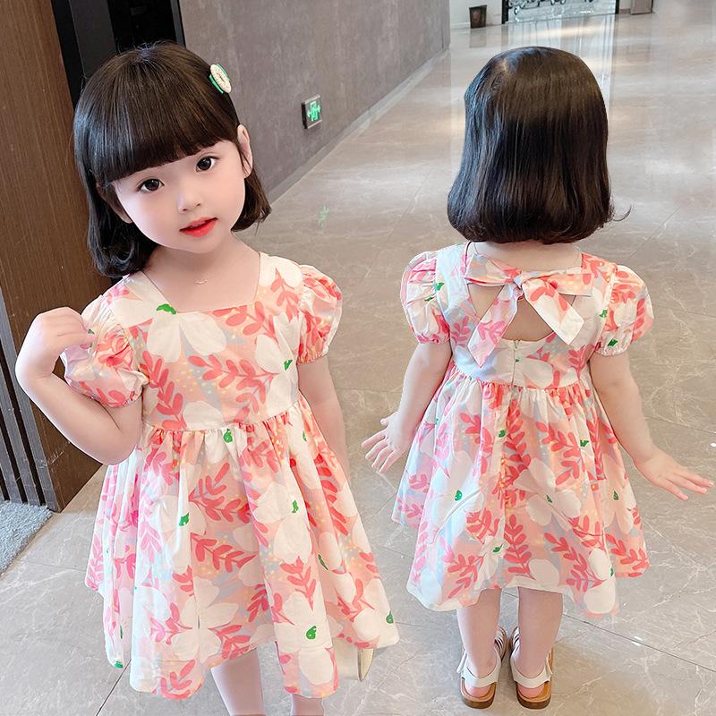 2021 Korean childrens dress flower foreign girl dress childrens fresh cotton short sleeve skirt princess skirt
