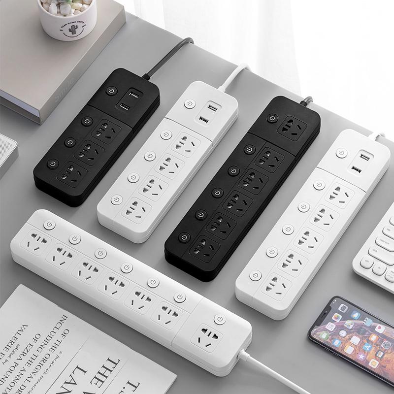 插座多功能家用机柜排插带USB独立开关插线板面板多孔插排接线板