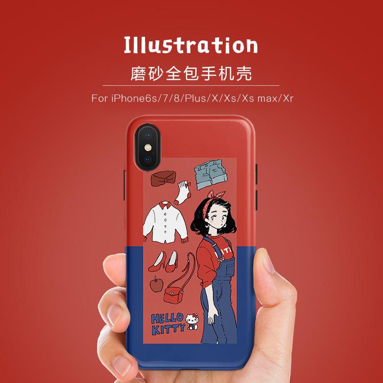 日系插画手绘少女iPhone Xs Max手机壳XR苹果8plus磨砂7plus套6s