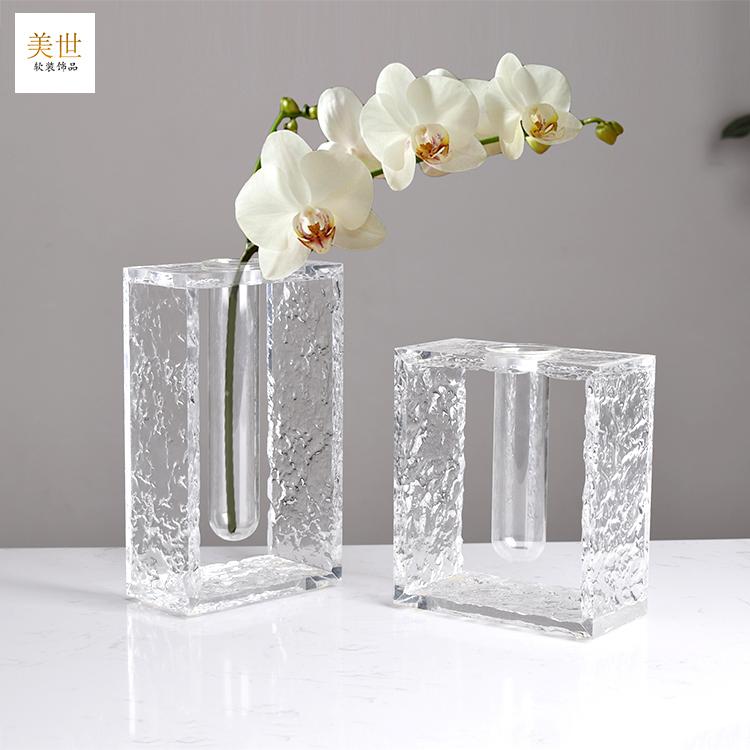 简约现代石头纹亚克力透明玻璃花瓶花器家暗客厅玄关样板房装饰品