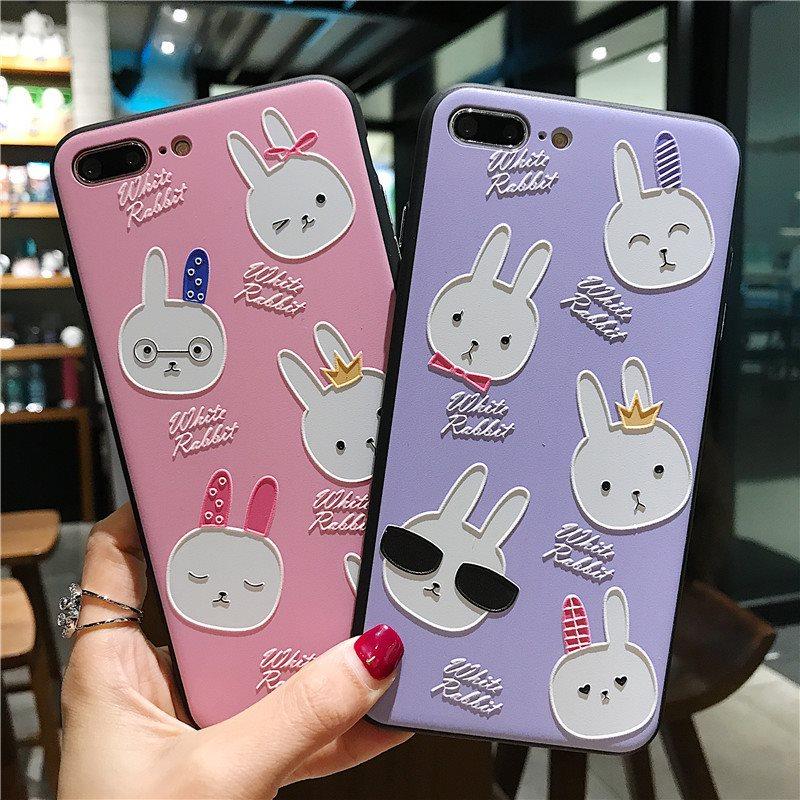 韩国可爱浮雕小兔子苹果6手机壳iPhoneX/8/7plus防摔软套个性女款