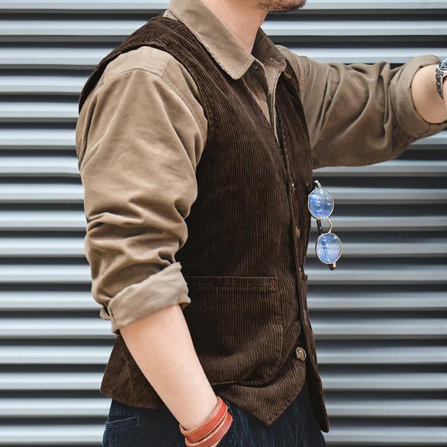 马登工装日系复古猎装古着灯芯绒马甲背心秋季阿美咔叽英伦外套男