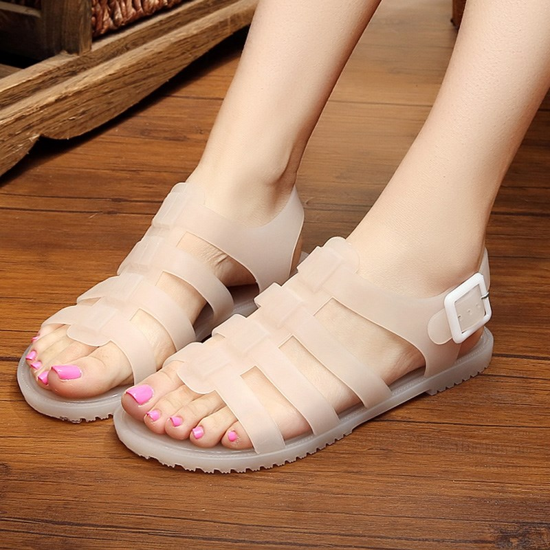 Vintage sandals, retro 1980s plastic womens nostalgic work flat bottomed students simple and versatile jelly beach shoes