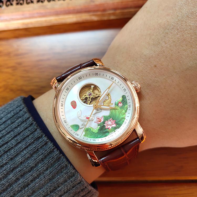 Swiss hollow mechanical watch wedding gift watch Chinese original watch wedding couple watch gold watch